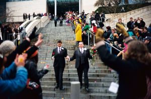 One of the first same-sex couples to be married in Seattle leaves City Hall, wikicommons photo