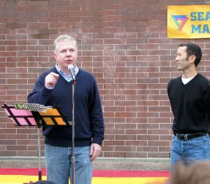 Ed Murray, left, the new mayor of Seattle and his husband, Michael Shiosaki. Photo from Wikicommons
