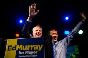 Ed Murray, who would run for Seattle mayor, with his partner Michael Shiosaki, Seattle Post-Intelligencer